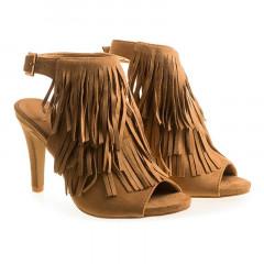 Sandale maro cu franjuri
