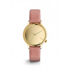 Ceas auriu cu roz Komono Estelle Mirror, curea de piele