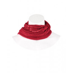 Fular rosu tricotat