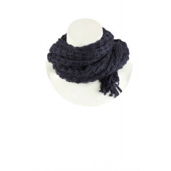 Fular albastru inchis tricotat
