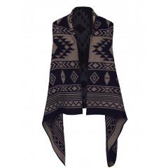 Vesta asimetrica cu model maro cu negru Only