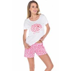 Pijamale scurte cu inimioare