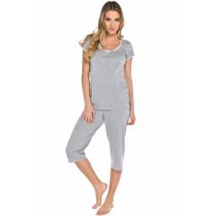 Pijama lunga gri cu puncte albe