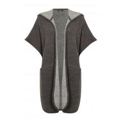 Vesta tricotata de culoare gri, cu gluga