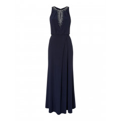 Rochie de seara eleganta, de culoare bleumarin, cu paiete si margelute