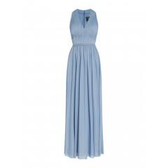 Rochie lunga eleganta, de culoare bleu, cu banda din margelute si strasuri