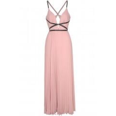 Rochie eleganta, de culoare roz, cu model plisat