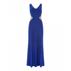 Rochie lunga eleganta, de culoare albastra, cu insertii stralucitoare