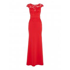 Rochie lunga eleganta, de culoare rosie, cu bust imbracat in dantela