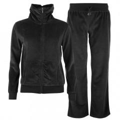 Trening negru din textil tip velour