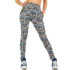 Pantaloni lungi, skinny, cu imprimeu sic