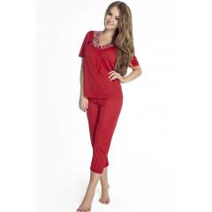 Pijama eleganta, de culoare rosie, cu dantela
