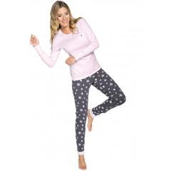 Pijama din bumbac, bicolora, cu stelute