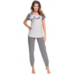 Pijama moderna, din bumbac, de culoare gri