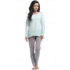 Pijama confortabila, bicolora, vernil cu gri