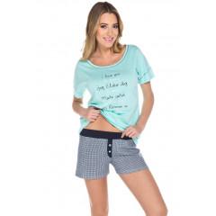 Pijama trendy, din bumbac, cu imprimeu frontal