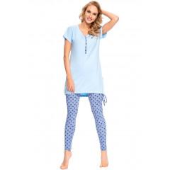 Pijama trendy, din bumbac, cu bluza lunga si colanti