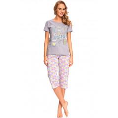 Pijama trendy, din bumbac, cu imprimeu multicolor