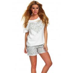 Pijama moderna, din bumbac, bicolora, alb cu gri, cu imprimeu
