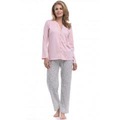 Pijama din bumbac, bicolora, cu animal print