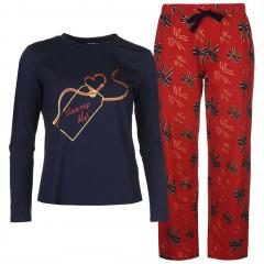 Pijama din bumbac, cu imprimeu rosu-bleumarin-Star