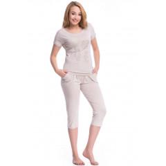 Pijama de culoare bej, din bumbac, cu insertii din dantela