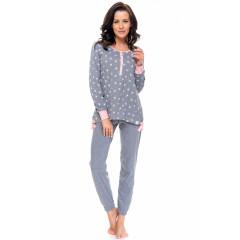 Pijamale lungi gri cu roz si imprimeu