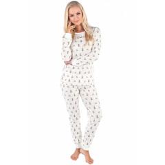 Pijamale lungi, albe, cu imprimeu