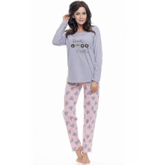 Pijamale lungi gri cu roz, cu mesaj motivational