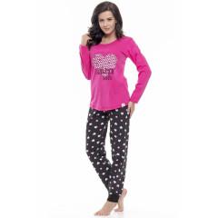 Pijamale lungi negru cu roz