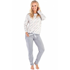 Pijamale lungi, gri cu alb, cu imprimeu floral