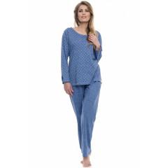 Pijamale lungi, albastru denim, cu imprimeu