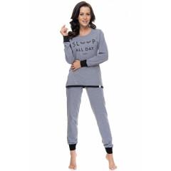 "Pijamale lungi gri cu mesaj ""Sleep All Day"""