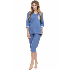 Pijamale trei sferturi albastre