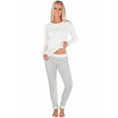 Pijamale lungi, albe, cu pantaloni in carouri