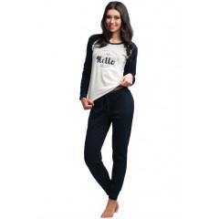 Pijamale lungi alb cu negru