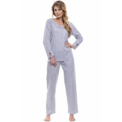 Pijamale lungi, gri, cu picatele