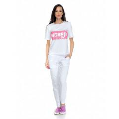 Trening alb cu roz, cu pantaloni lungi si maneci scurte