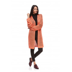 Cardigan lung orange din tricot