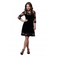 Rochie de seara din catifea neagra si dantela