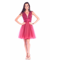 Rochie marsala scurta din broderie si tulle