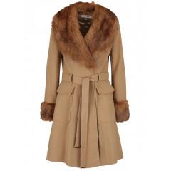 Palton cu detalii din blana sintetica