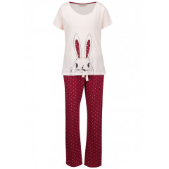 Pijamale crem cu visiniu cu model iepuras