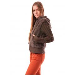 Jacheta tricotata cu blana