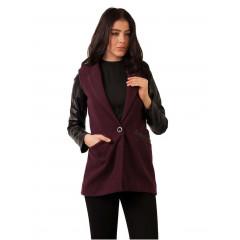 Jacheta din stofa cu maneci din piele