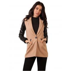 Jacheta din stofa bej cu maneci din piele