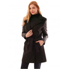 Palton negru cu cordon si maneci satinate