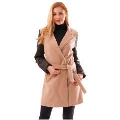Palton de stofa cu maneci negre matlasate