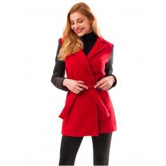 Palton din stofa rosie cu maneci negre