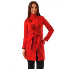 Palton elegant cu trandafiri rosii aplicati